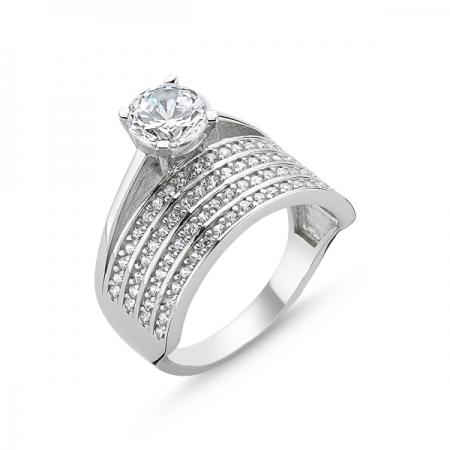 Inel argint cu 4 randuri de zirconii albe mici si un zirconiu mare - Eternity & Solitaire