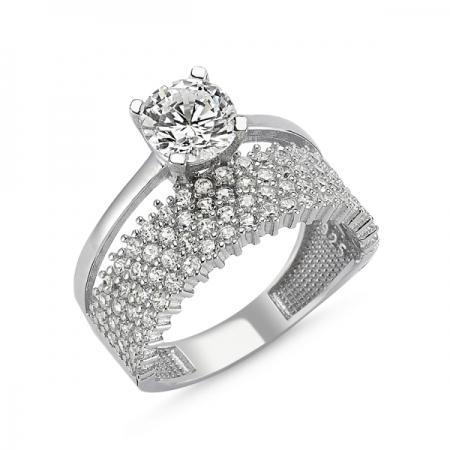 Inel argint cu 4 randuri de zirconii mici si o piatra mare - Eternity & Solitaire