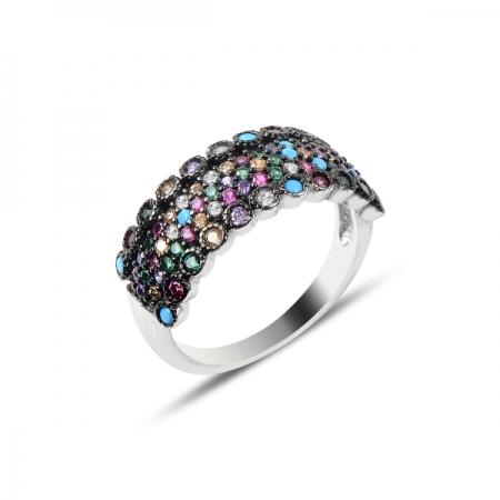 Inel argint cu 4 randuri de zirconii multicolore