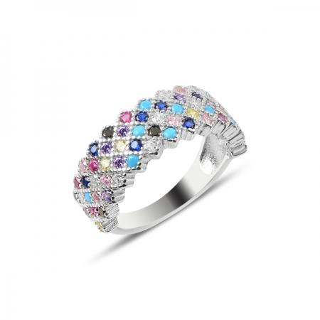 Inel argint cu 5 randuri de zirconii multicolore - Eternity
