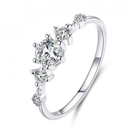 Inel argint cu 5 zirconii