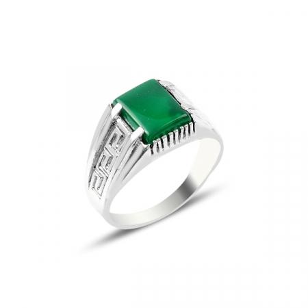 Inel argint cu agat verde