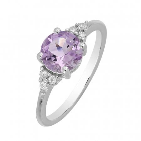 Inel argint cu Ametist Roz si 6 cristale de zirconiu alb - IVA0083