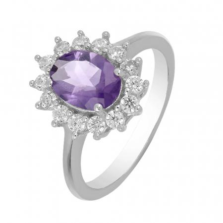 Inel argint cu ametist si cristale de zirconiu alb - IVA0094