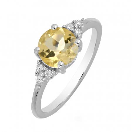 Inel argint cu citrin si 6 cristale de zirconiu alb - IVA0082