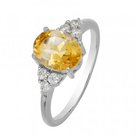 Inel argint cu citrin si 6 cristale de zirconiu alb - IVA0104