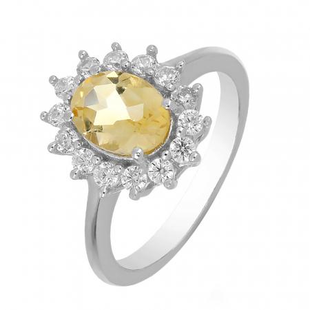 Inel argint cu citrin si cristale de zirconiu alb - IVA0095