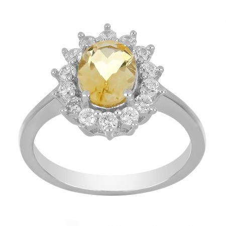 Inel argint cu citrin si cristale de zirconiu alb - IVA00951