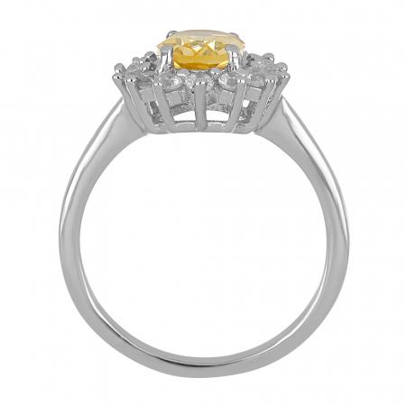 Inel argint cu citrin si cristale de zirconiu alb - IVA00953