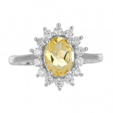 Inel argint cu citrin si cristale de zirconiu alb - IVA00952