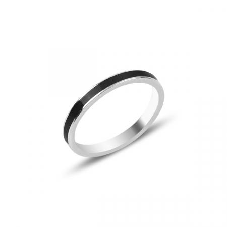 Inel argint cu email negru 2 mm, placat cu rodiu - ITU0235
