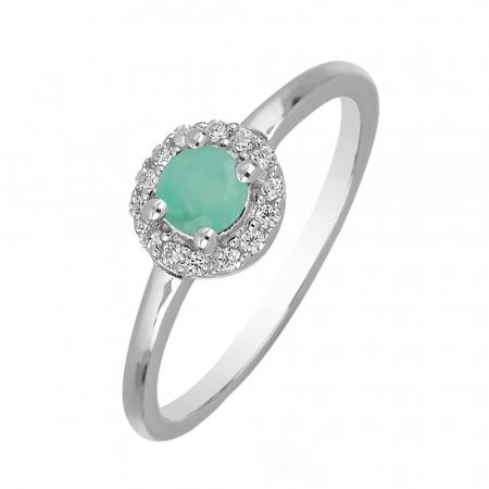 Inel argint cu Emerald si cristale de zirconiu alb - IVA0118