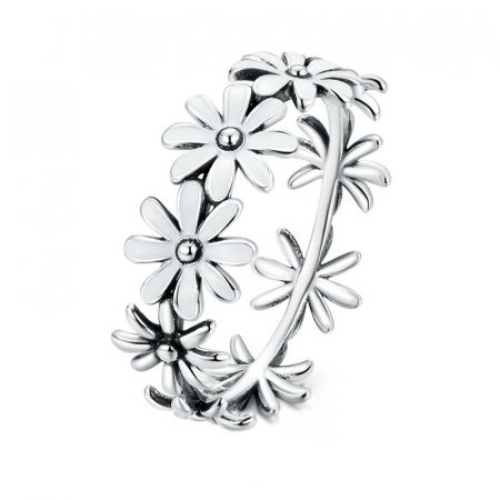 Inel argint cu flori
