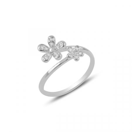 Inel argint cu flori de cristal