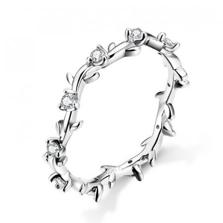 Inel argint cu flori de cristale