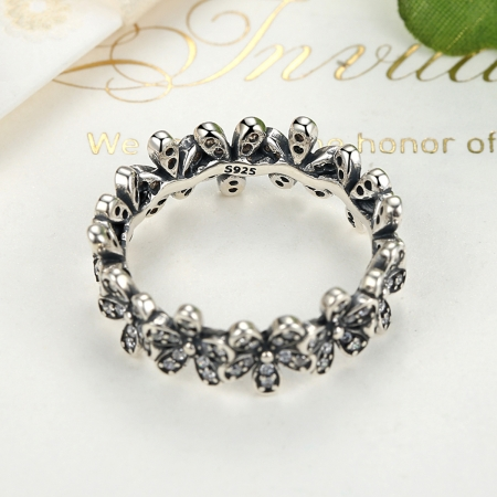 Inel argint cu floricele si zirconii albe - Be Nature IST00113