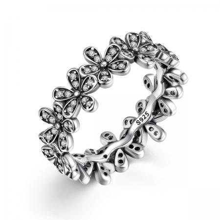 Inel argint cu floricele si zirconii albe - Be Nature IST00110