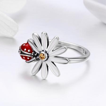 Inel argint cu gargarita si floare3