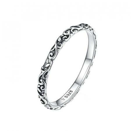 Inel argint cu model floral