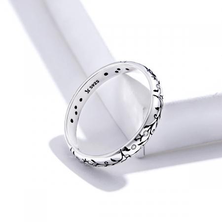 Inel argint cu model floral si zirconii [4]