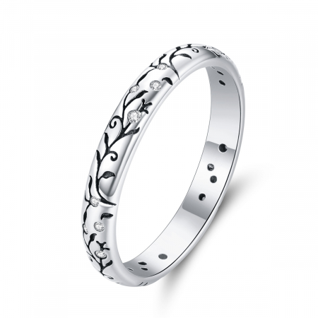 Inel argint cu model floral si zirconii