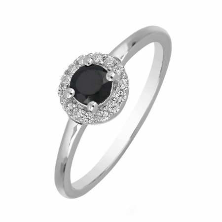 Inel argint cu onix si cristale de zirconiu alb - IVA0116