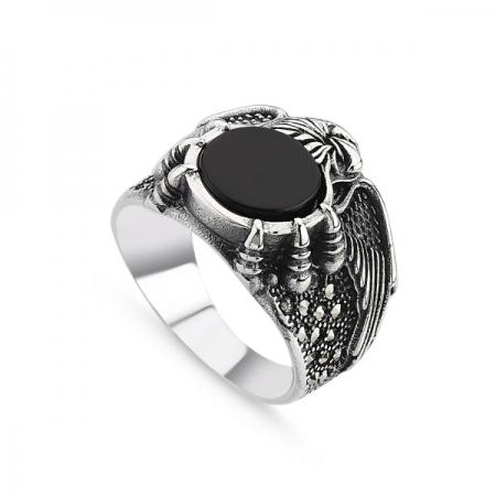 Inel argint cu onix si marcasite pentru bărbați - Vultur cu Gheare