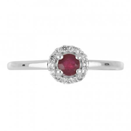 Inel argint cu rubin si cristale de zirconiu alb - IVA01201