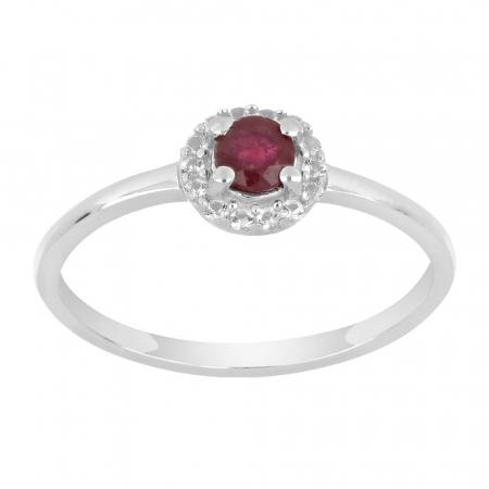 Inel argint cu rubin si cristale de zirconiu alb - IVA0120