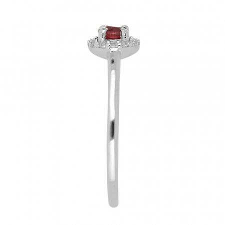 Inel argint cu rubin si cristale de zirconiu alb - IVA01203
