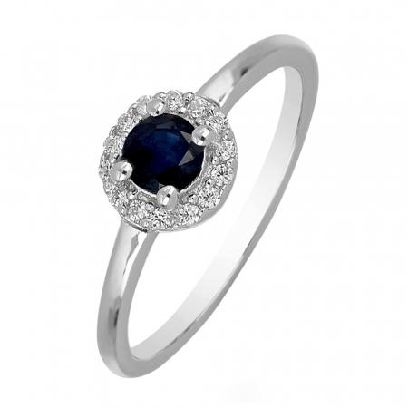 Inel argint cu Safir Albastru si cristale de zirconiu alb - IVA0117