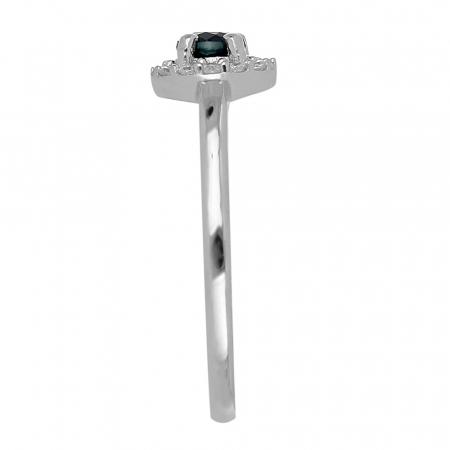 Inel argint cu Safir Albastru si cristale de zirconiu alb - IVA0117 [4]