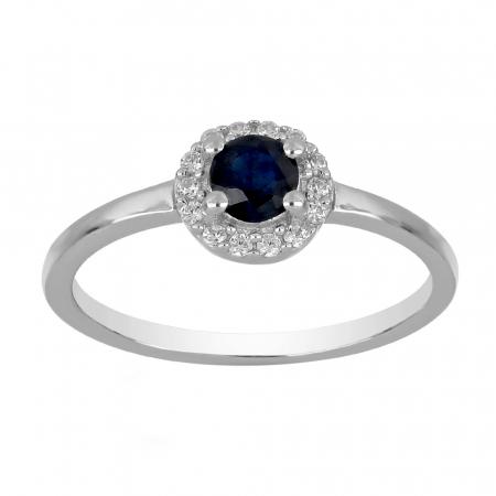 Inel argint cu Safir Albastru si cristale de zirconiu alb - IVA0117 [1]