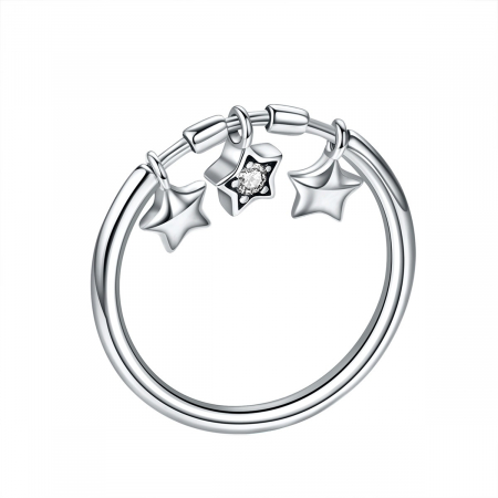 Inel argint cu stelute si zirconiu