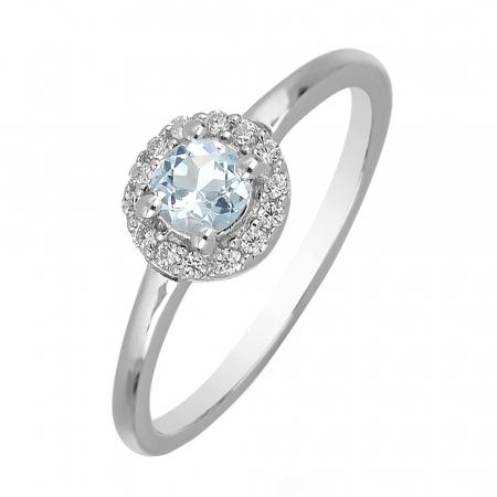 Inel argint cu Topaz Albastru Londra si cristale de zirconiu alb - IVA0119