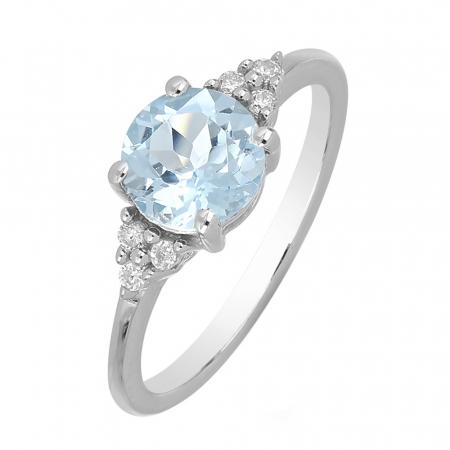 Inel argint cu topaz cer albastru si 6 cristale de zirconiu alb - IVA0084