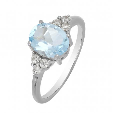 Inel argint cu topaz cer albastru si 6 cristale de zirconiu alb - IVA0105