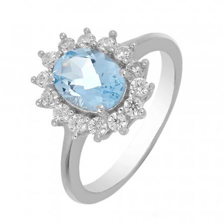 Inel argint cu topaz si cristale de zirconiu alb - IVA0096