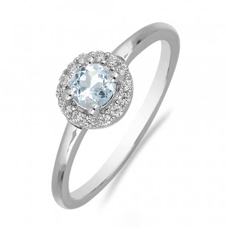Inel argint cu topaz si cristale de zirconiu alb - IVA01211