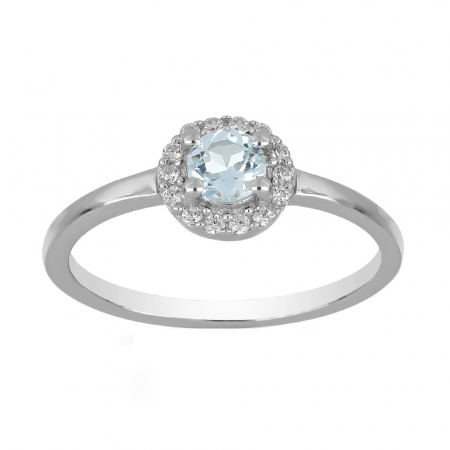Inel argint cu topaz si cristale de zirconiu alb - IVA0121