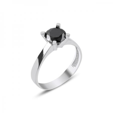 Inel argint cu zirconiu negru - Solitaire