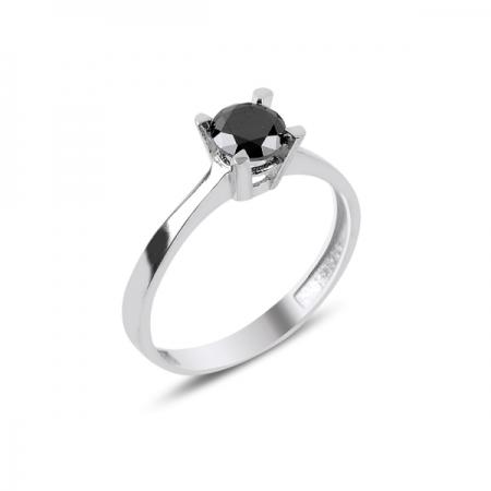 Inel elegant argint 925 cu zirconiu negru - Solitaire