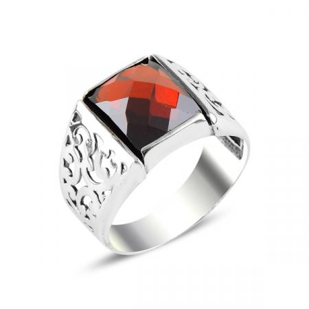 Inel argint cu zirconiu rosu
