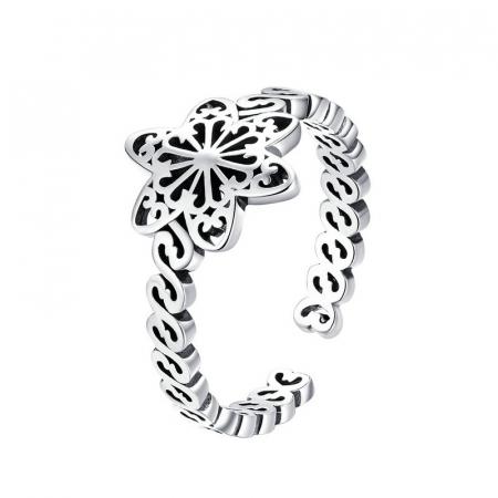 Inel argint decupat cu floare