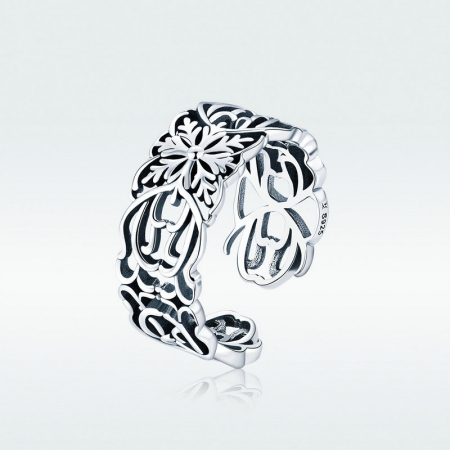 Inel argint decupat cu flori5