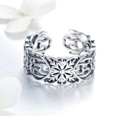 Inel argint decupat cu flori2