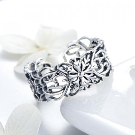 Inel argint decupat cu flori3