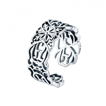 Inel argint decupat cu flori