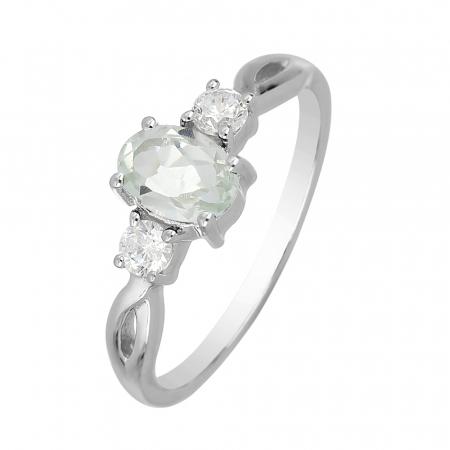 Inel argint elegant cu ametist verde si zirconiu alb - IVA0088