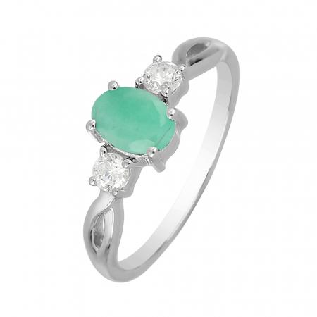 Inel argint elegant cu emerald si zirconiu alb - IVA0087